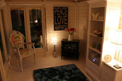 summerhouse interior at night