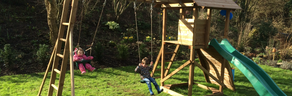 kids using a climbing frame to stay active