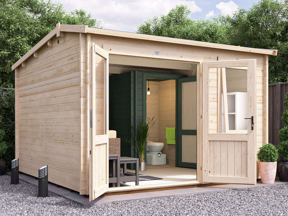 Our Log Cabin Outhouses are available as Carsare, Rhine and Lantera