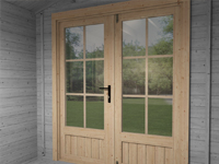 log cabin door with georgian bars