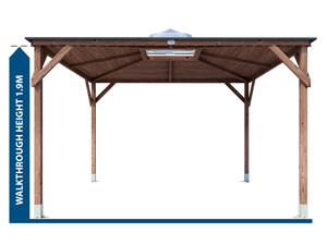 large opening wooden garden structure