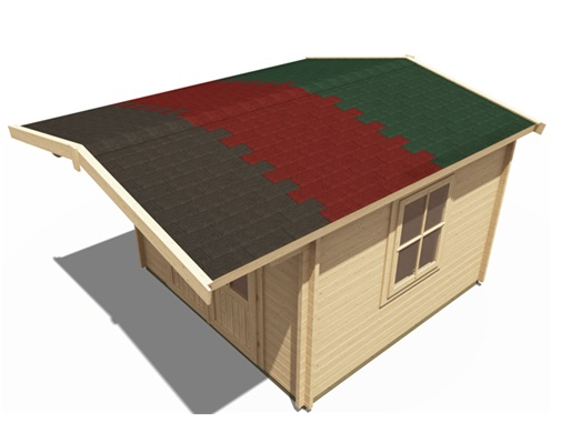 log cabin roof shingle options in various colours