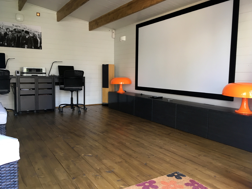 man cave log cabin cinema
