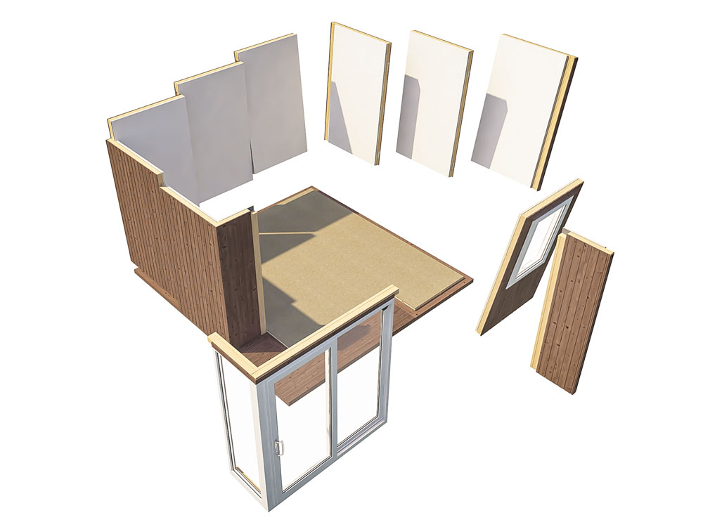 Garden Offices Easy To Build Panel System Kratos 3839 LR