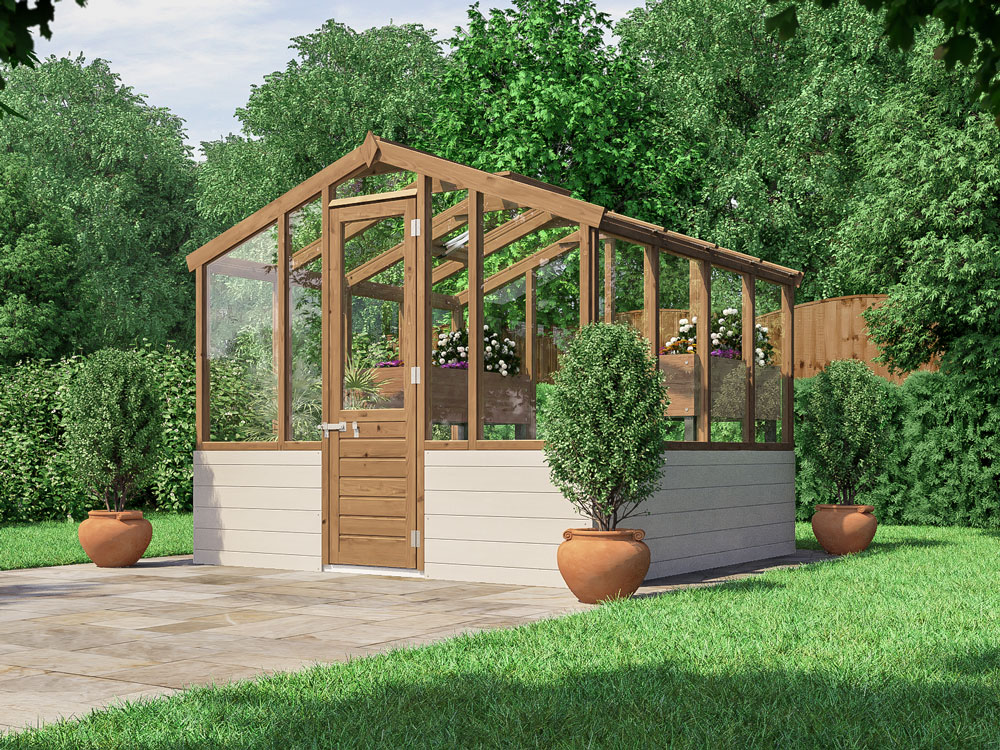 Albert Victorian Greenhouse features WPC lower panels and pressure treated exposed wooden timbers