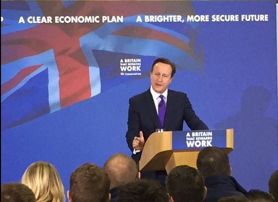 ex prime minister David Cameron giving a speech