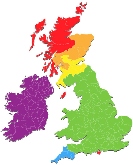 Colour coded map of the UK