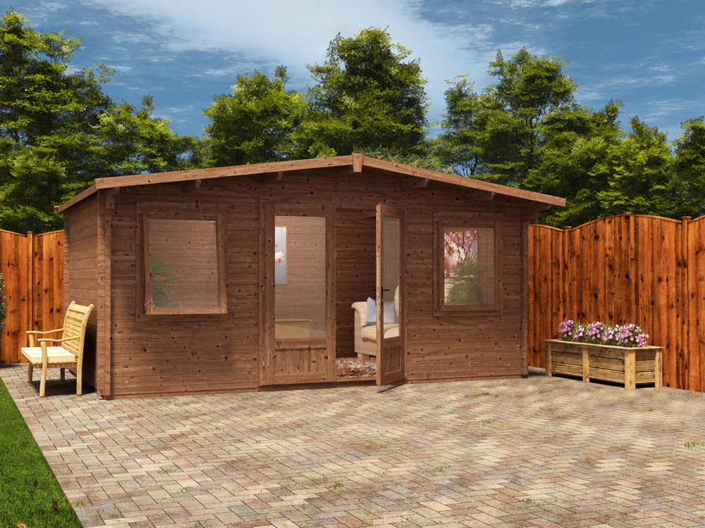 Treated log cabin