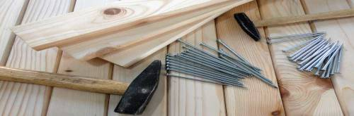 timber with tools and nails