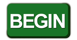 Green button with white letters 'begin'