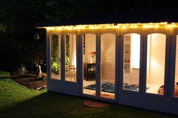 exterior of a summer house at night