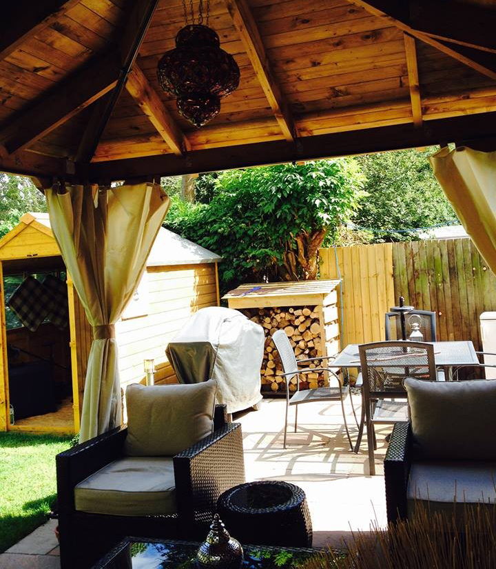 gazebo, shed, log store, garden furniture