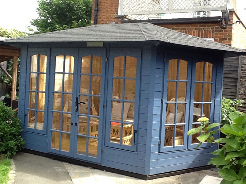 blue summerhouse