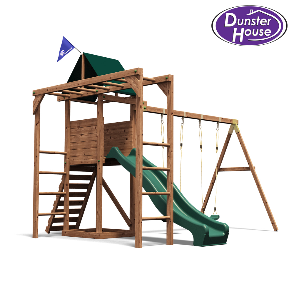 monkeyfort woodland wooden childrens climbing frame swing and slide picclick uk. Black Bedroom Furniture Sets. Home Design Ideas
