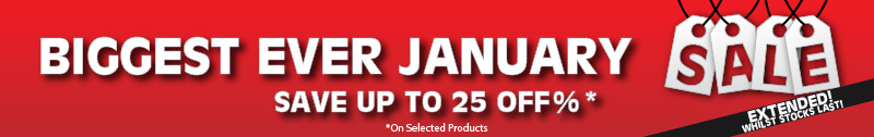 Biggest ever January sale banner. Save 25%