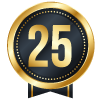 25 years blue icon