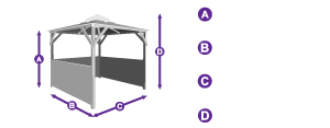 Erin Gazebo - Half Height Solid Wall Panels measurement outline
