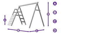 FoxCub Swing Set Climbing Frame measurement outline