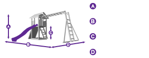 MaxiFort Frontier Climbing Frame measurement outline