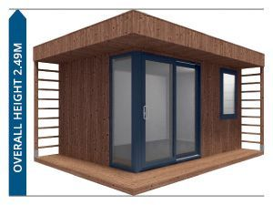 Pressure treated garden office with grey door and window frames and overall height 2.49m