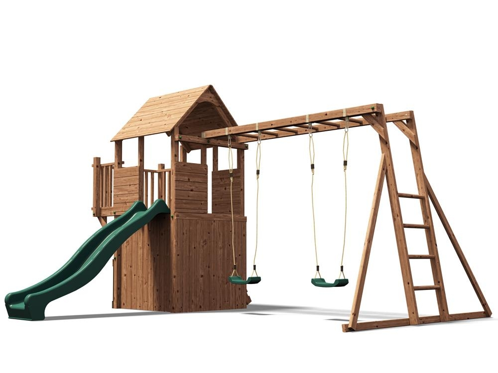 Climbing Frame Playhouse Childrens Swing Set Slide Kid Monkey Bars ...