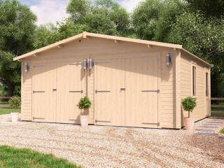Deore Double Wooden Garage Inc. Barn Doors