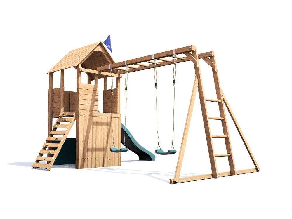 Wooden Climbing Frame Playhouse Childrens Swing Monkey Bars ...