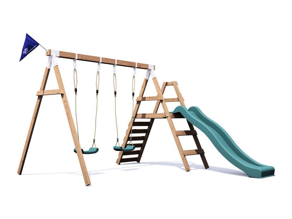 Wooden Garden Swing Slide Set Kid Outdoor Climbing Frame - FoxCub ...