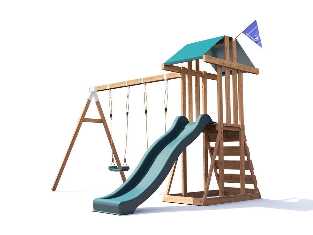 Kids Wooden Climbing Frame Swing Slide Sets Garden Play Set ...