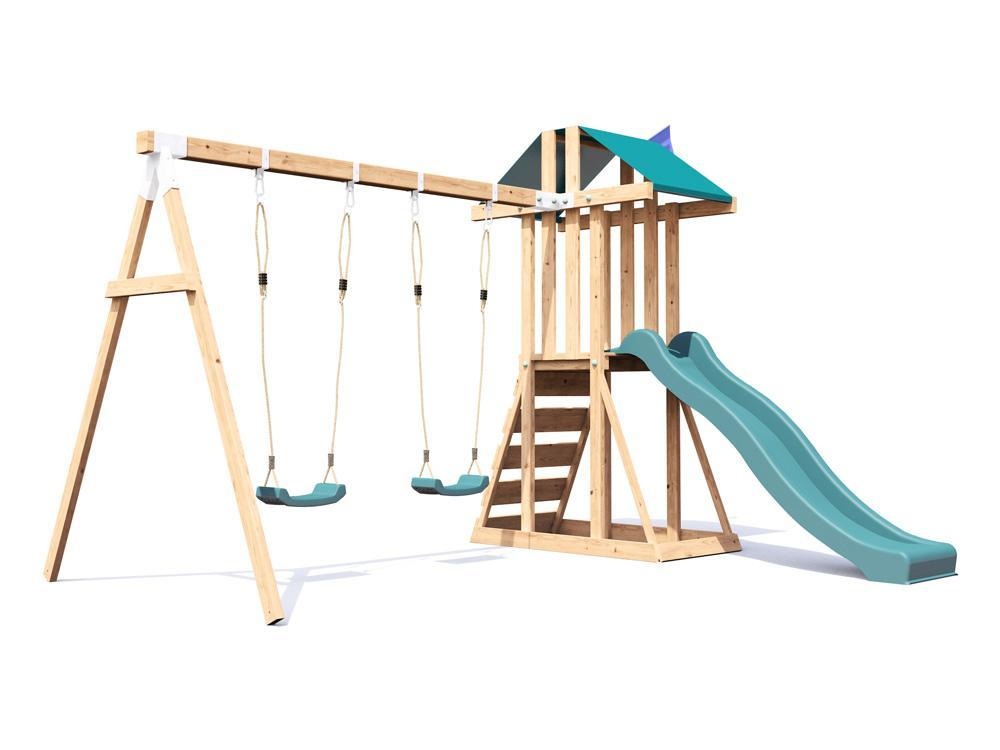 Kids Wooden Climbing Frame Swing Slide Sets Garden Play Set ...