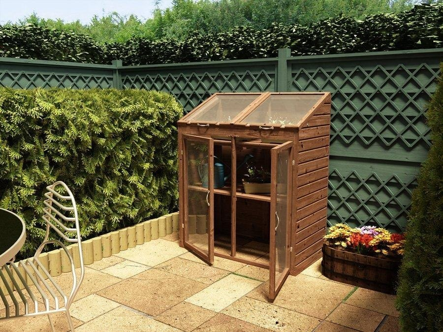 Mini greenhouse garden vegetable plant potting wooden shed for Mini potting shed