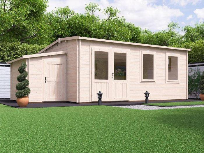 Modetro Log Cabin with Sidestore W7.0m x D4.5m | Log Cabins