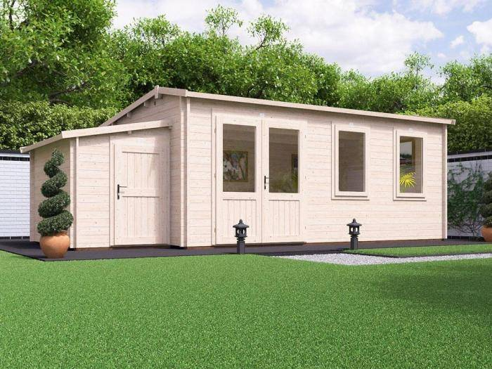 Modetro Log Cabin with Sidestore W7.0m x D3.5m | Log Cabins