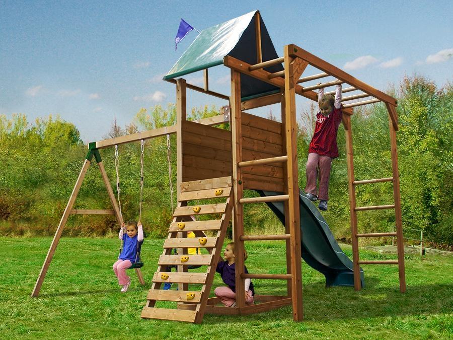 monkeyfort woodland wooden childrens climbing frame swing. Black Bedroom Furniture Sets. Home Design Ideas