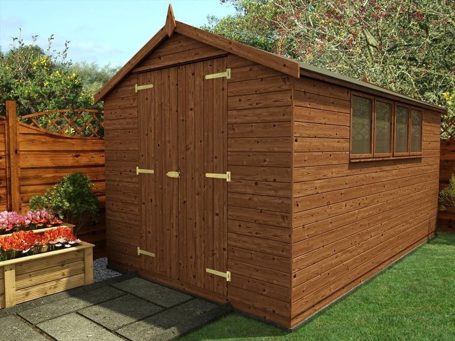 Garden Sheds 2m X 2m birgi pressure treated shed w2.44m x d4.2m | sheds & storage