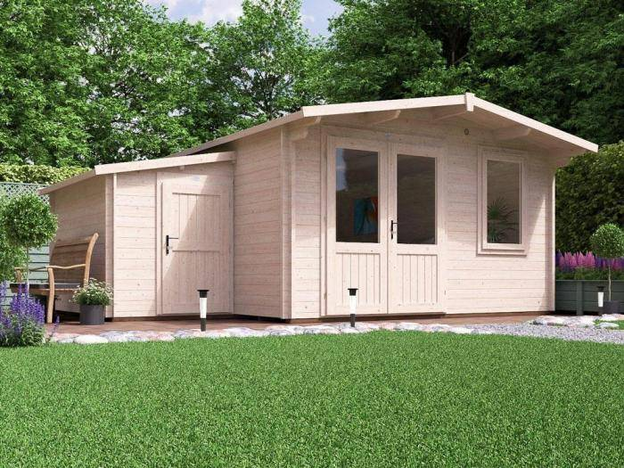 Rhine Log Cabin W5.5m x D5.0m with Sidestore