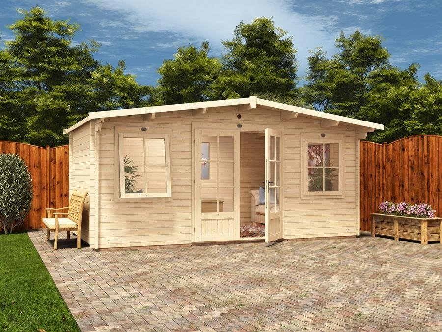 Garden log cabin man cave home office summer house for Log cabin extensions