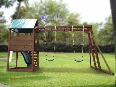 dunster house squirrelfort outdoor wooden climbing frame swing set slide garden ebay. Black Bedroom Furniture Sets. Home Design Ideas