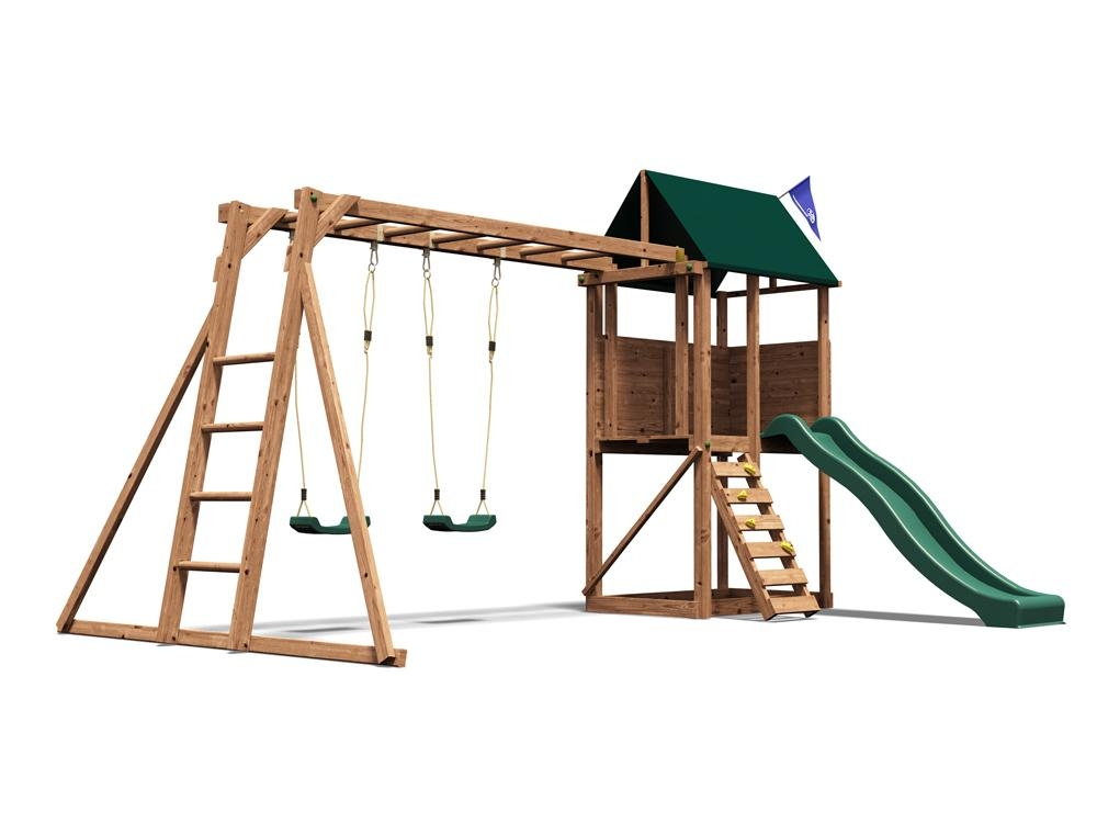 Kids Swing Set Wooden Climbing Frame Childrens Garden Swings Slide ...