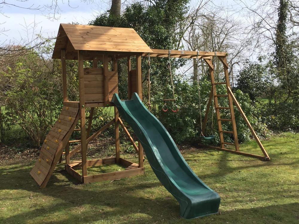 Kids Swing Sets Slide Set Monkey bars Climbing Wall Garden