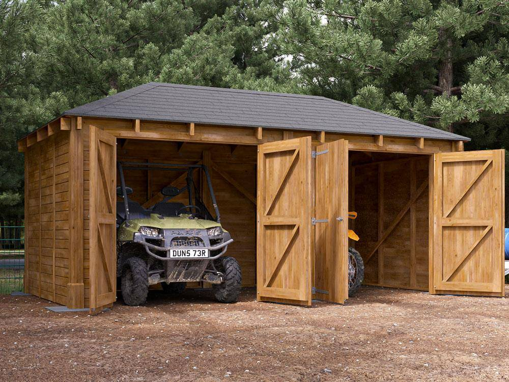 Atlas Double Timber Framed Shallow Garage Inc. Barn Doors