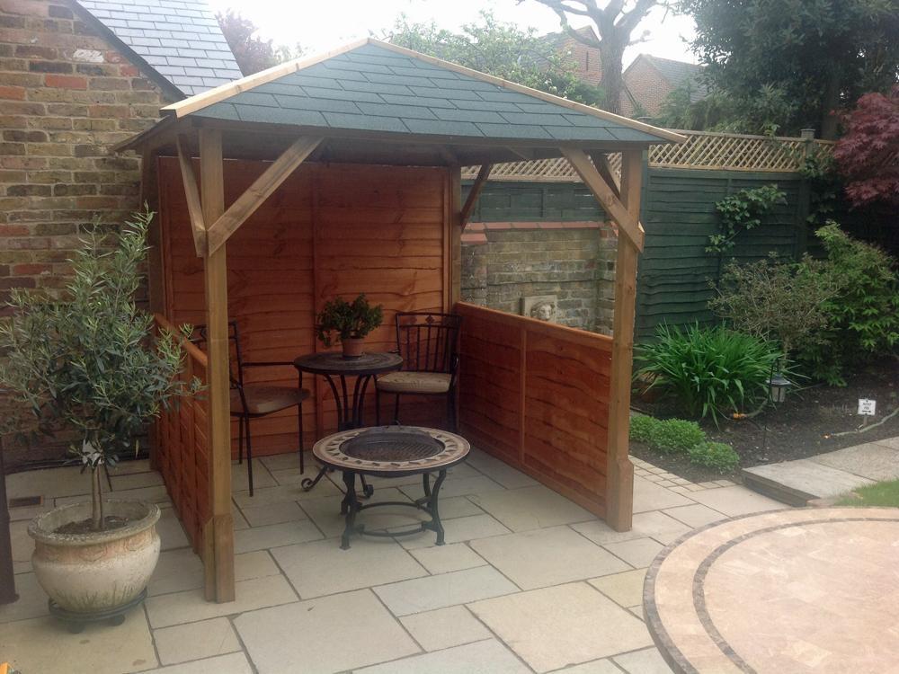 Gazebo kits wooden open heavy duty garden square bbq for Hot tub shelter plans