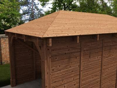 Wooden log garage hercules single carport w10 39 5 x d19 39 9 for Log carports