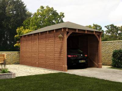 Details About Wooden Log Garage Hercules Single Carport W10 5 X D19 9 Dunster House