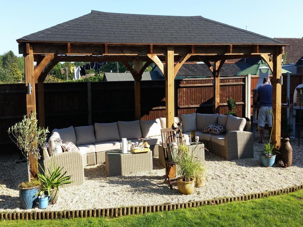 Wooden Gazebo Outdoor Dining Seating Area Hot Tubs Garden Shelter Heavy  Duty UK
