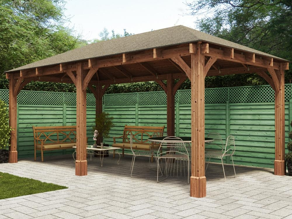 Wooden gazebo outdoor dining seating area hot tubs garden for Small garden shelter