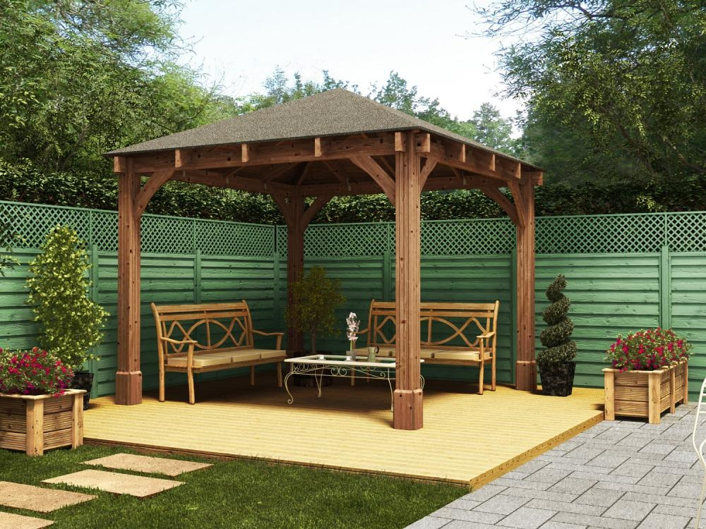 Gazebos wooden open heavy duty garden gazebo kit square for Small garden shelter
