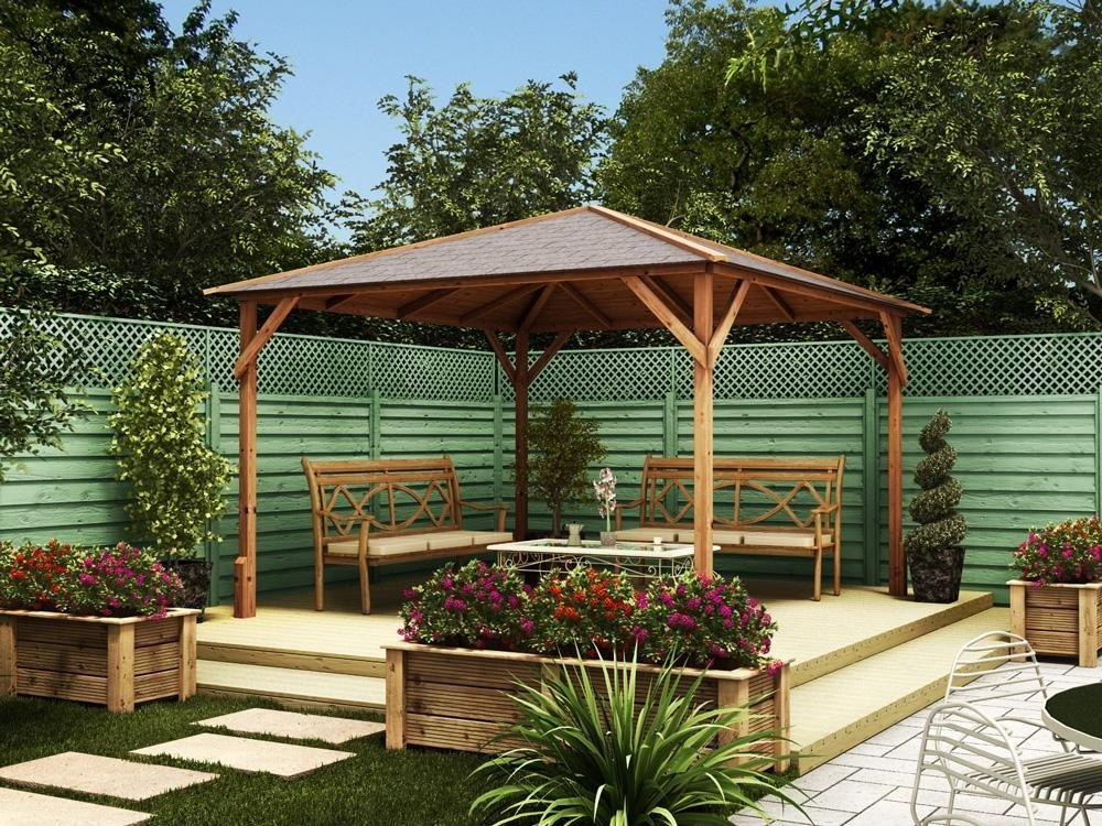 Gazebos wooden open heavy duty garden square bbq shelter for Spa gazebo kits