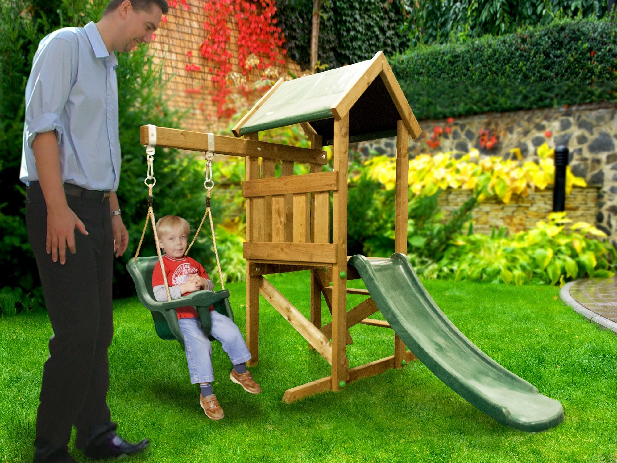 Kids small climbing frame baby swing slide set playhouse for Small wooden swing sets