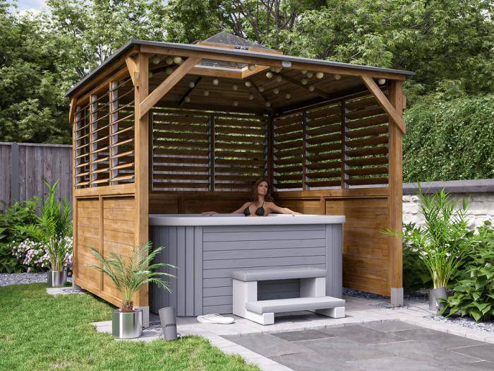 Erin Gazebo Half Height Solid Wall Half Louvre W2.5m x D2.5m